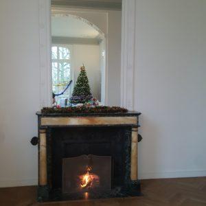 feu de cheminée au château des Boulard